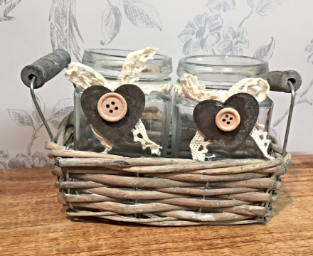 2 Glass Traditional Jars with Slate Charms in Wicket Basket Decoration